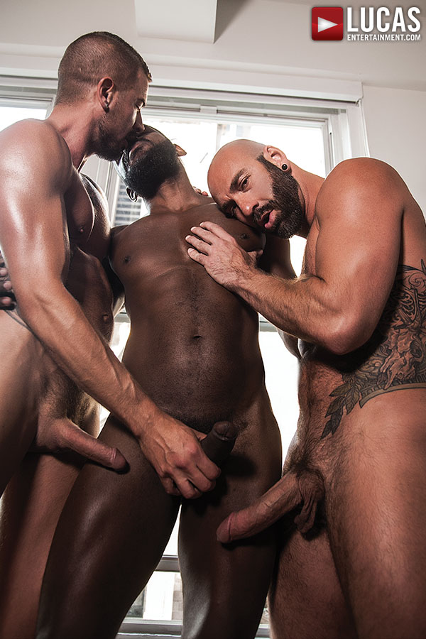 Gay couple threesome