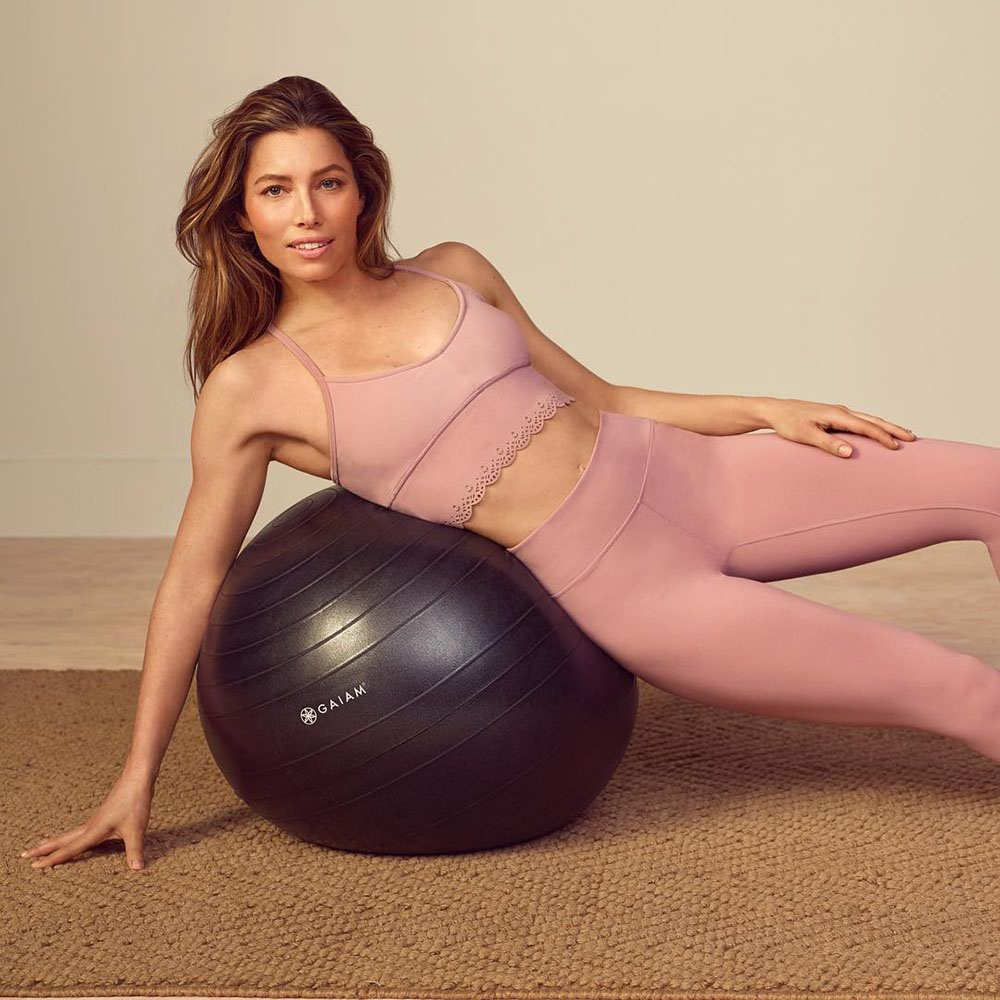 Jessica Biel Yoga Pants Sports Bra