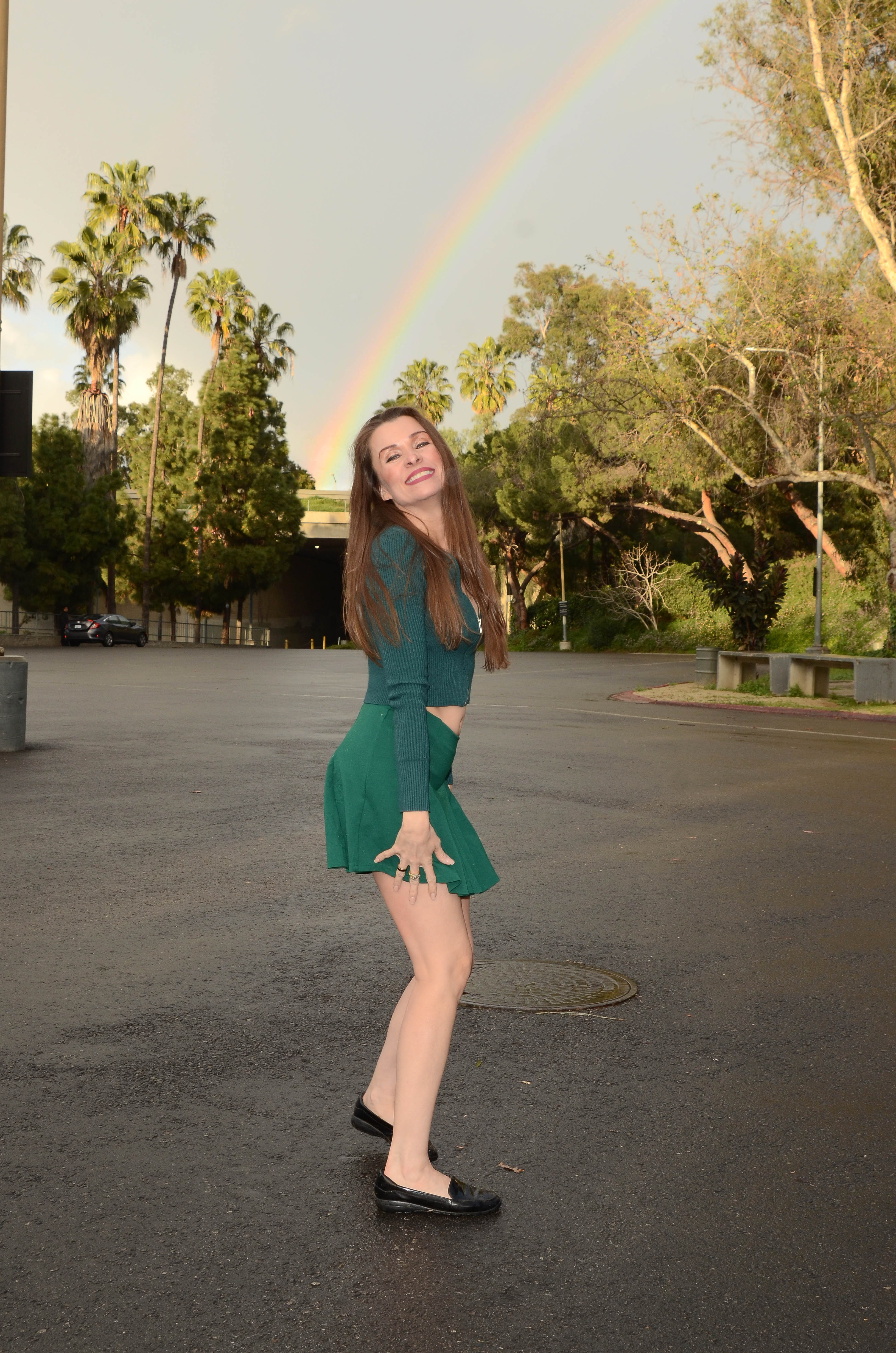 """""""Baywatch"""" actress Alicia Arden enjoys a rainbow while on a break from filming"""
